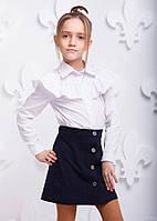 Детская белая рубашка P1006-1 на девочку 6 лет (р. 116!, хлопковая школьная блузка) ТМ ОКП