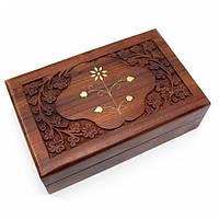 Шкатулка для ценностей резная деревянная