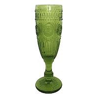 Стеклян. Бокал-кубок с орнаментом для шампанского 20*6 см 125 мл зеленый