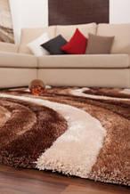 Килим хвилі, коричнево білий килим ручної роботи