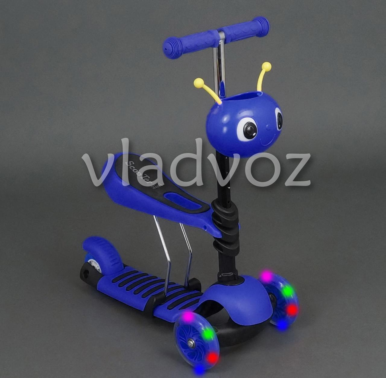 Самокат беговел Best Scooter Micro Mini 3в1 с сидением и корзинкой божьей коровкой синий