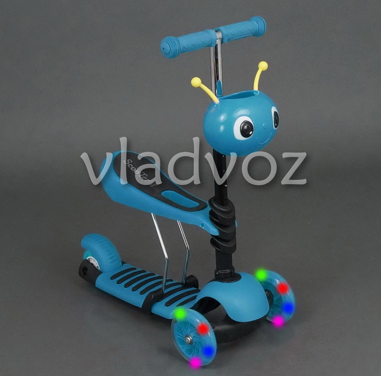 Самокат беговел Best Scooter Micro Mini 3в1 с сидением и корзинкой божьей коровкой голубой