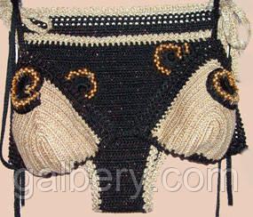 Вязаный купальник - бикини ручной работы комбинированной расцветки