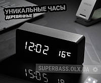 Электронные цифровые настольные часы белые деревянные VST-862-6/WHITE