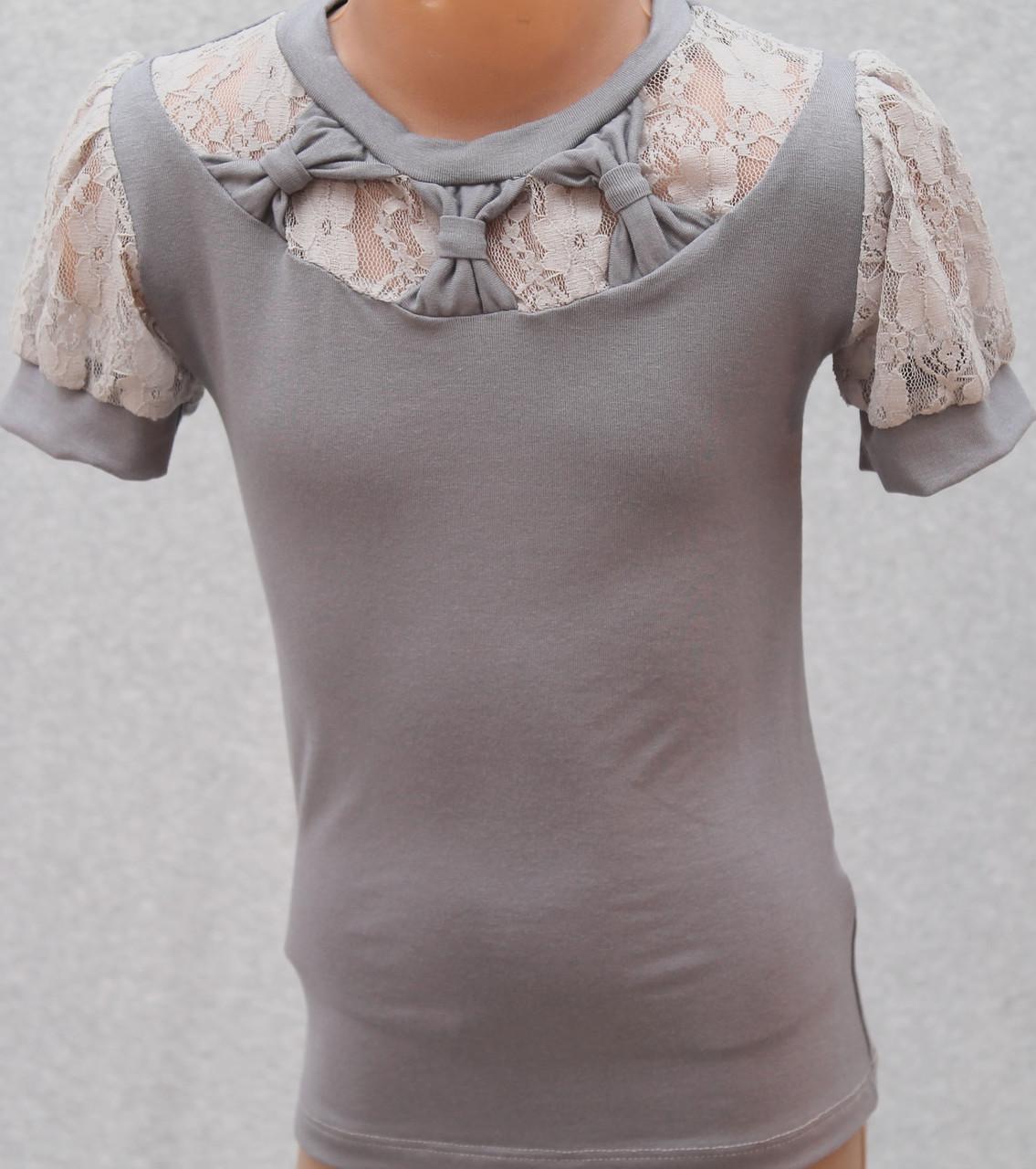 Блузка для девочки серая