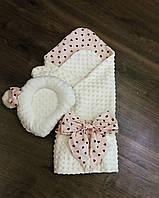 Бежевый конверт-плед на выписку + бежевая ортопедическая подушка для новорожденных