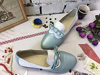 Женские  туфли с бантиками  натуральная  кожа.