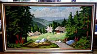 """Вышитая картина """"Село в лесу"""""""