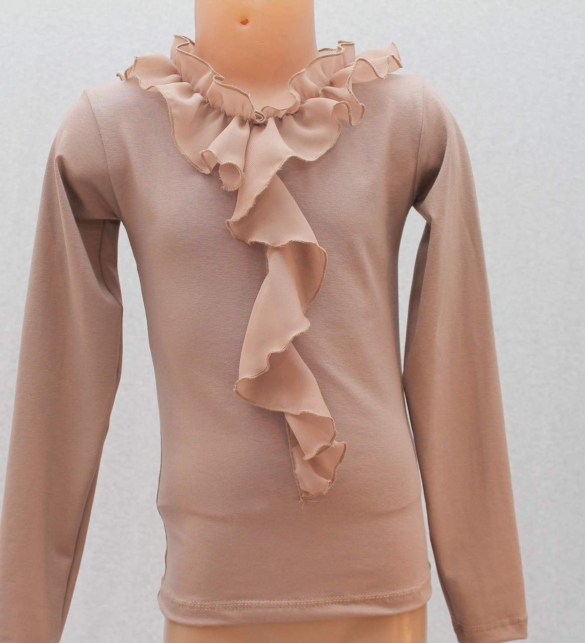 Блуза для девочки с жабо темный-беж