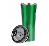 ТЕРМОКРУЖКА зеленая LATTE, ТМ DISCOVER, цельнометаллическая с клапаном-кнопкой, под гравировку логотипа