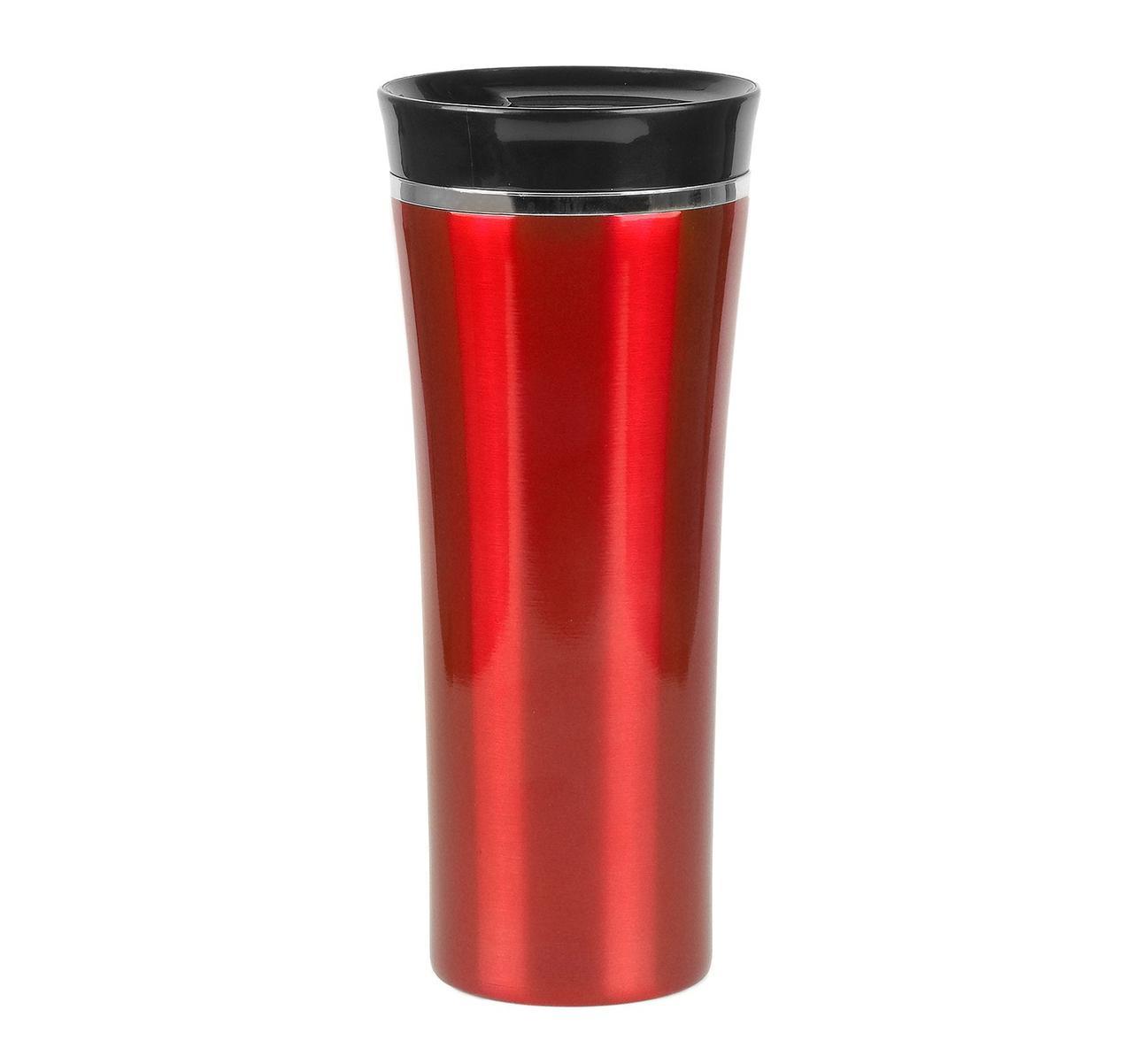 ТЕРМОКРУЖКА красная LATTE, ТМ DISCOVER, цельнометаллическая с клапаном-кнопкой, под гравировку логотипа, фото 1