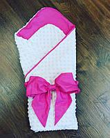 Конверт плед на выписку летний 90×90 — Бело-розовый с большим бантом