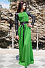 """Платье с экокожей  """"Габриэлла"""", трава"""