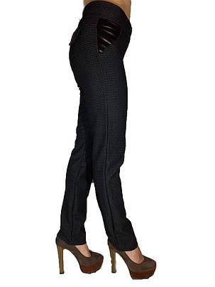 Женские классические брюки жаккард черные, фото 2