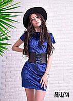 Платье с поясом корсетом модное короткое мраморный велюр разные цвета SMs1683