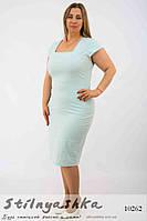 Платье-футляр мелкий горох для полных голубое