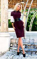 Стильное женское платье однотонное с корсетом