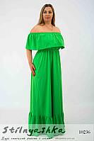 Шикарное платье в пол для полных с оборками зеленое