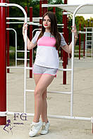 """Спортивный костюм летний """"Silvia"""" - распродажа серый + розовый, 46"""