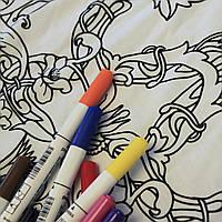 Футболка раскраска мужская белого цвета с принтом Трезубец в комплекте 3 разноцветных маркера