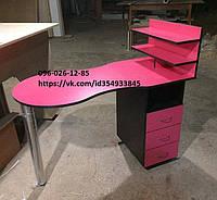 """Маникюрный стол """"Малинка"""" с выдвижными ящиками и полками для лаков"""