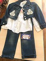 Джинсовый костюм на девочку: пиджак болеро, джинсы бойфренд и х/б рубашка