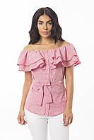 Молодежная летняя блуза из легкой натуральной ткани КРАСНАЯ