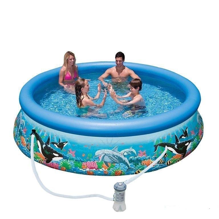 Надувний басейн Intex Сімейний Easy Set 366х76 см Басейн круглий