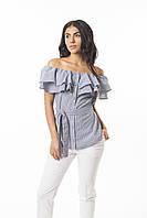 Молодежная летняя блуза из легкой натуральной ткани СИНЯЯ, фото 1