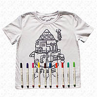 Футболка раскраска детская белая для мальчиков с принтом Ракета в наборе 3 разноцветных маркера