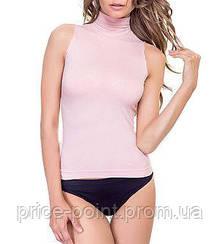 Майка с воротником стойкой, водолазка без рукавов Golden Lady, цвет нежно-розовый, р. S/M