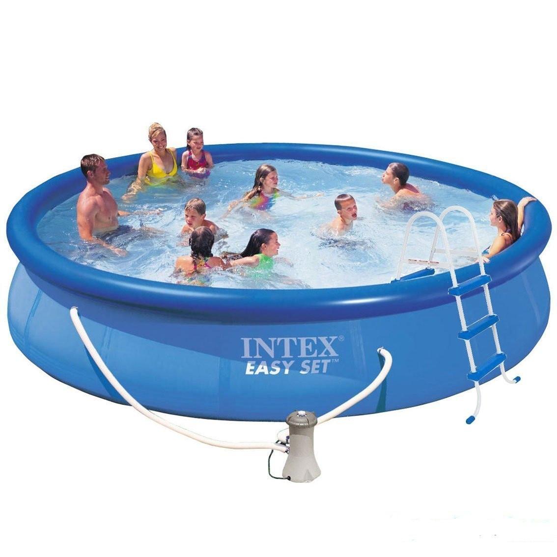 Надувной семейный бассейн басейн 457 х 330 х 84 Intex 28180 (54908) круглый