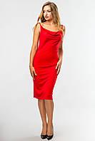 Красное облегающее платье-миди на бретелях со складкой на груди