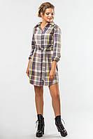 Стильное женское клетчатое платье-рубашка с поясом серое