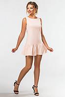 Летнее женское пудровое платье с рюшами на подоле без рукавов