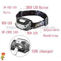 Фонарь налобный Viator High Power LED CREE + 2 Red LED + встроенный аккумулятор и зарядка от USB