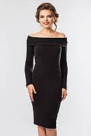 Стильное платье черного цвета с длинным рукавом и открытыми плечами