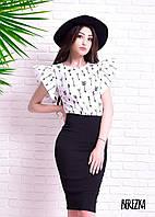 Костюм женский стильный блузка и юбка карандаш разные расцветки Kb502