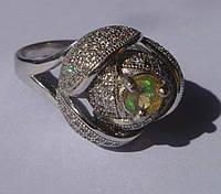 Кольцо с натуральным эфиопским опалом Роза Размер 18