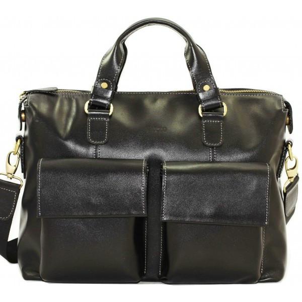 Кожаный мужской портфель Mk25 черный глянец