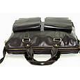 Кожаный мужской портфель Mk25 черный глянец, фото 6