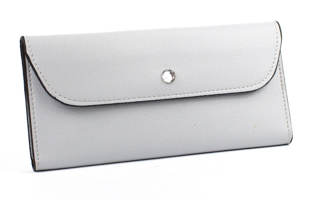 Женский кошелёк с кнопкой-стразом Серый