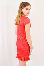 Яркое подростковое выпускное гипюровое платье, красное., фото 3