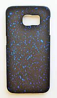 Чехол на Самсунг Galaxy S6 G920F Space приятный Пластик Черный Синие капли