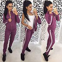 Костюм стильный вязаный женский кофта на молнии и брюки 5 цветов Dol602