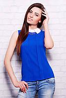Синяя женская офисная шифоновая блузка без рукавов