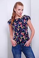 Шифоновая женская блузка с коротким рукавом цветочный принт коралл
