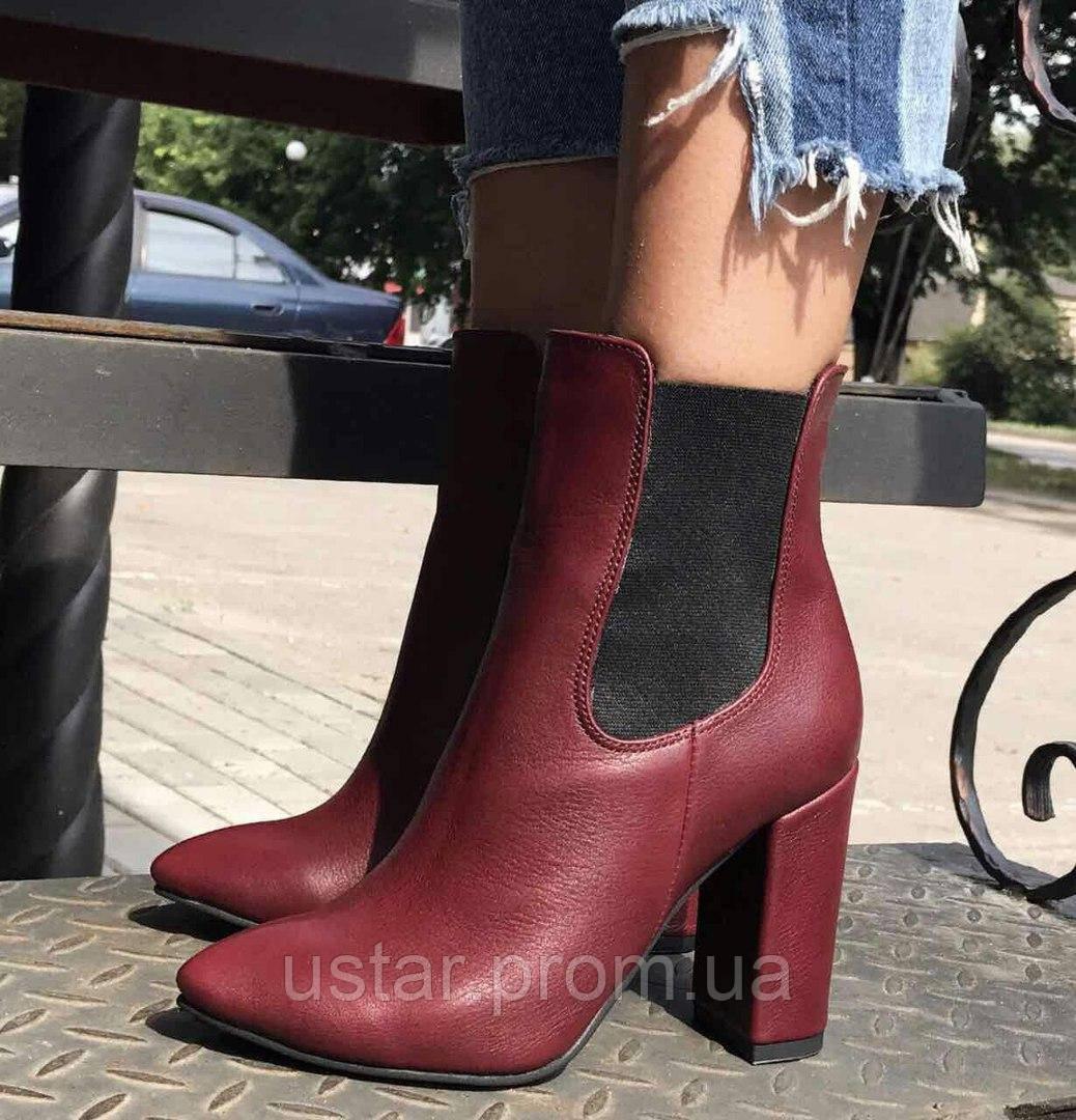 Ботинки женские на каблуке натуральный замш кожа -