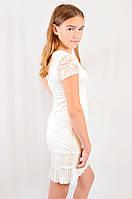 Детское подростковое праздничное гипюровое платье нежного белого цвета.