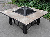 Костровой стол-барбекю с крышкой (120x120 см)